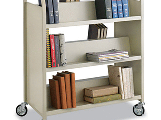 Safco Products Steel Book Cart  Double Sided  6 Sheves  Sand  5357SA