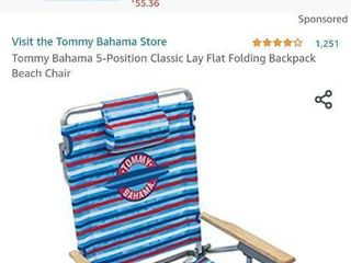 Tommy Bahama 5 position Classic lay Flat Folding Backpack Beach Chair   Red W