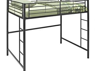Walker Edison Full Size Premium Metal loft Bed   Black