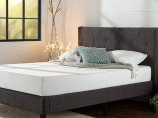 ZINUS Shalini Upholstered Platform Bed Frame   Mattress Foundation   Wood Slat Support   No Box Spring Needed   Easy Assembly  Dark Grey  Full