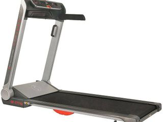 Sunny Health   Fitness Strider Motorized Folding Running Treadmill with Wide Base  Portable  USB  Flat Folding and low Profile   SF T7718