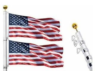 Klvied 25ft Telescoping Flag Pole  Heavy Duty 16 Gauge Aluminum Flagpole Kit Fly 2 Flags  Outdoor Inground Flag Pole with 3x5 America Flag  Golden