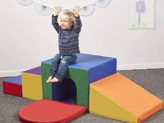 ECR4Kids SoftZone Single Tunnel Maze   Indoor Foam Climbing Gym for Kids and Toddlers   Stairs  Slide and Tunnel Climb and Crawl Set for Early Skill Development  Assorted Colors