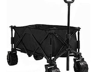 Patio Watcher Collapsible Wagon Folding Utility Wagon Cart Beach Outdoor Garden Camping Sports All Terrain Wagons Heavy Duty  Black