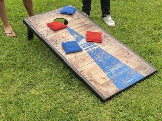 Gosports Classic Cornhole Regulation Size Bean Bag Backyard lawn Game  Rustic  One Cornhole Slightly Damaged