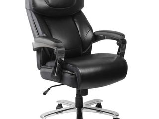Flash Furniture HERCUlES Series Big   Tall 500 lb  Rated Black leatherSoft Executive Swivel Ergonomic Office Chair with Adjustable Headrest