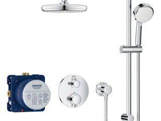 GROHE Grohtherm Cube 2 Spray Shower Set with Tempesta 210 in Starlight Chrome
