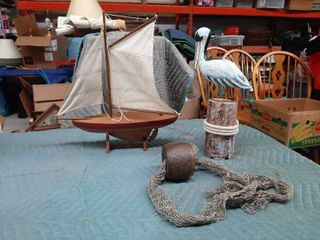 Sailboat  Pelican on log and Net Decor