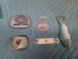 3 Bottle Openers  and 2 Belt Buckles   Fish Opener is Cast Iron