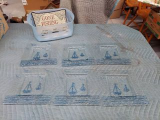 6 Glass Sailboat Plates and Gone Fishing Pillow