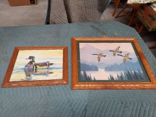 2 Duck Pictures   1 Signed Painting and 1 Stitchwork
