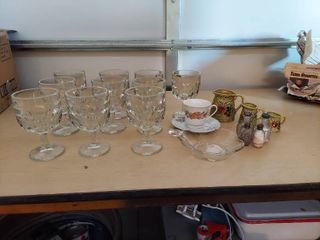 10 Stemed Glasses  Measure Pitchers and Salt   Pepper Shakers