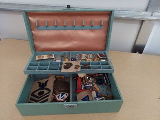 Jewelry Box and Contents   Military Pins and Patches