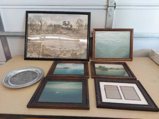 Aluminum Fishermans Prayer Plate and Assorted Picture Frames