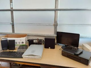 Assorted Electronic Items   VCR  Monitor  Scanner  and Speakers