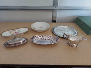 Assorted Silverplate Items and Germany Dishes