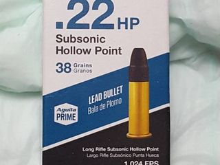 50 ct  22 HP bullets  38 grain subsonic hollow point  1 024 FPS