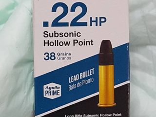 50 ct   22HP subsonic hollow point bullets  38 gr