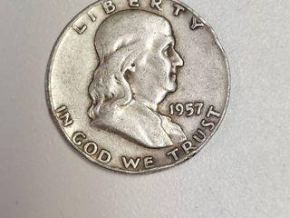 1957 D Franklin Silver Half Dollar
