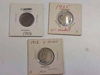 3  liberty Head V Nickels    2  1905  1912
