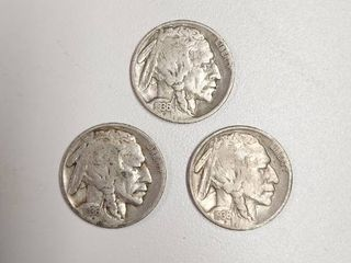 3  1936 Buffalo Nickels   P D S Mint Marks