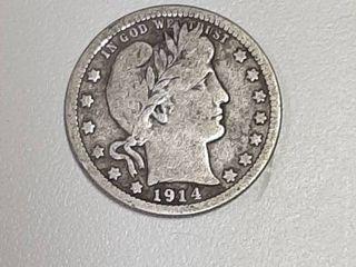1914 D Barber Silver Quarter