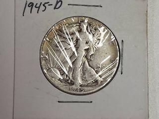 1945 D Walking liberty Silver Half Dollar