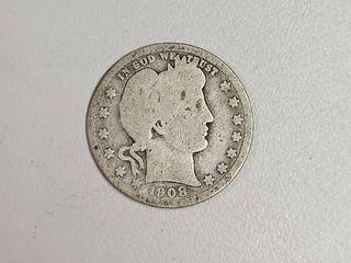 1908 O Barber Silver Quarter