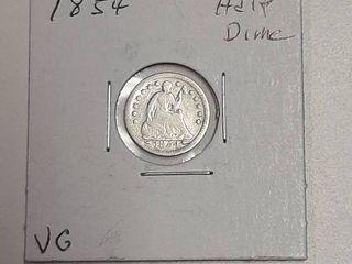 1855 Seated liberty Half dime