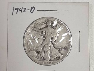 1942 D Walking liberty Silver Half Dollar