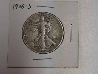 1936 S Walking liberty Silver Half Dollar