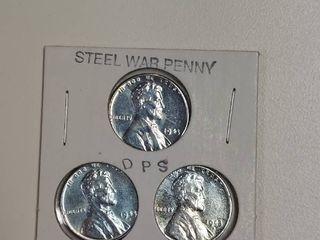 3  1943 Steel War Pennies   P D S Mint Marks