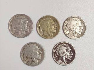 5  Buffalo Nickels   1929  1934  1936  1936 D  1937