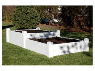 Dura Trel Rectangle 2 Tiered Vinyl Raised Planter Bed   Panels Only