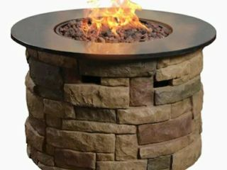 Fire Pit with Faux Brick and Black Granite Round Top