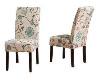 Pertica Contemporary Fabric Dining Chairs Set of 2 White and Blue