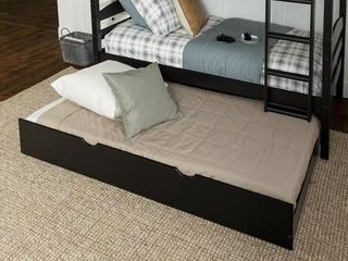 Solid Wood Trundle Bed   Black