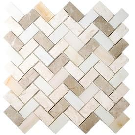 allen   roth Marble Beige Herringbone Mosaic Marble Wall Tile  Common  11 in x 11 in  Actual  11 14 in x 11 14 in