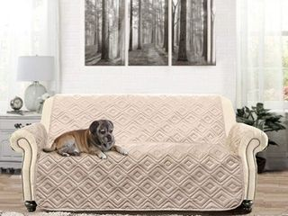 DriftAway Anson Water Resistant Quilted Furniture Protector Cover Couch Slipcover Perfect for Dogs Kids Pets loveseat Beige