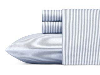 Twin Printed Pattern Percale Cotton Sheet Set Blue Stripe   Poppy   Fritz