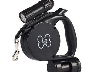 lucybelle Pets 3 in 1 Retractable leash With light And Waste Black
