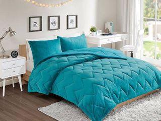 3pc Full Queen Jasper Chevron Reversible Comforter Mini Set Teal