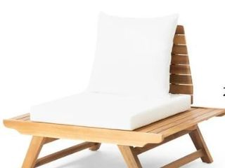 Sedona Outdoor Mid Century Tufted Accent Arm Chair by Christopher Knight Home   Teak Finish   White Cushion Retail  199 99