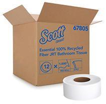 Kimberly Clark Scott 67805 Recycled Fiber JRT Jr Jumbo Roll Tissue  3 55  Width x 1000  length  White  Case of 12