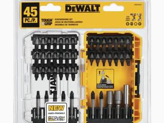 Dewalt   Dwa45set Tough Grip 45 piece Steel Hex Shank Screwdriver Bit Set