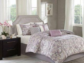 Purple Celena Printed Comforter Set  California King  7pc