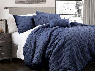 lush Navy Ravello Pintuck Comforter Set   lush Decor King