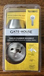 Gate House Singlecylinder Deadbolt 0118011 Brushed Stainless Steel Finisn