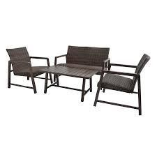 style selections ham right 4 pc woven conversation set brown wicker finish