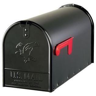 Gibraltar Mailboxes Elite large Post Mount Mailbox Black dent in front